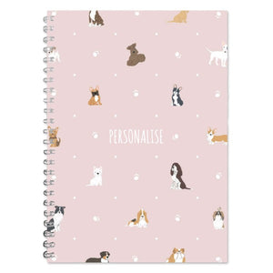 Personalised Dog Pattern A5 Lined Notepad