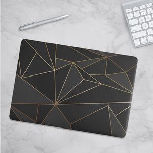 Load image into Gallery viewer, Macbook Hard Shell Case - Black & Gold Geometric
