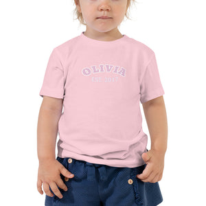 Toddler Short Sleeve Tee - Est Year in Pink, White, Black & Blue