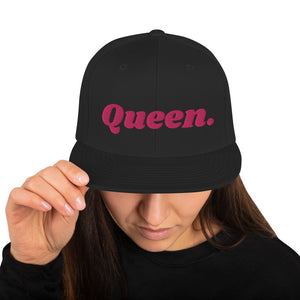 Load image into Gallery viewer, Embroidered Queen Snapback Cap - Flamingo Pink