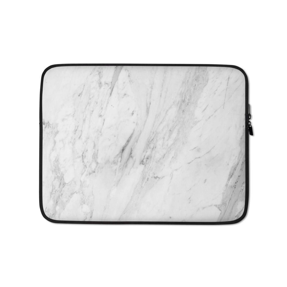 Personalized Laptop Sleeve in Marble with Faux Fur Lining