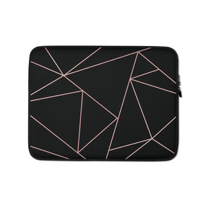 Personalized Laptop Sleeve in Black & Pink Geometric with Faux Fur Lining