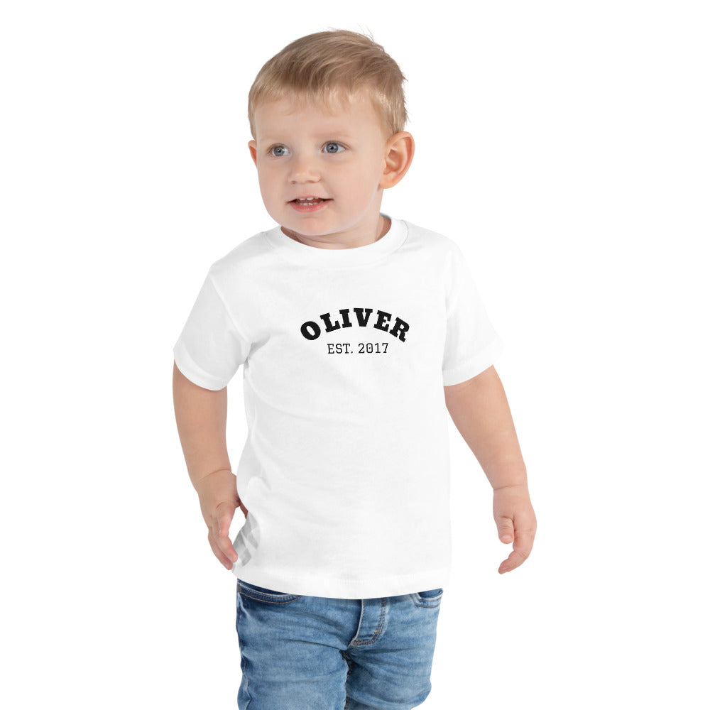 Toddler Short Sleeve Tee - Est. Year in White, Blue & Pink