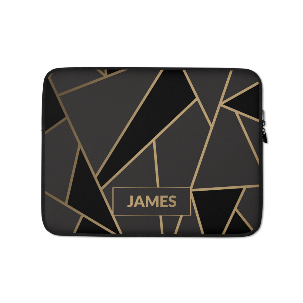 Personalized Laptop Sleeve in Luxe Black & Gold Geometric with Faux Fur Lining