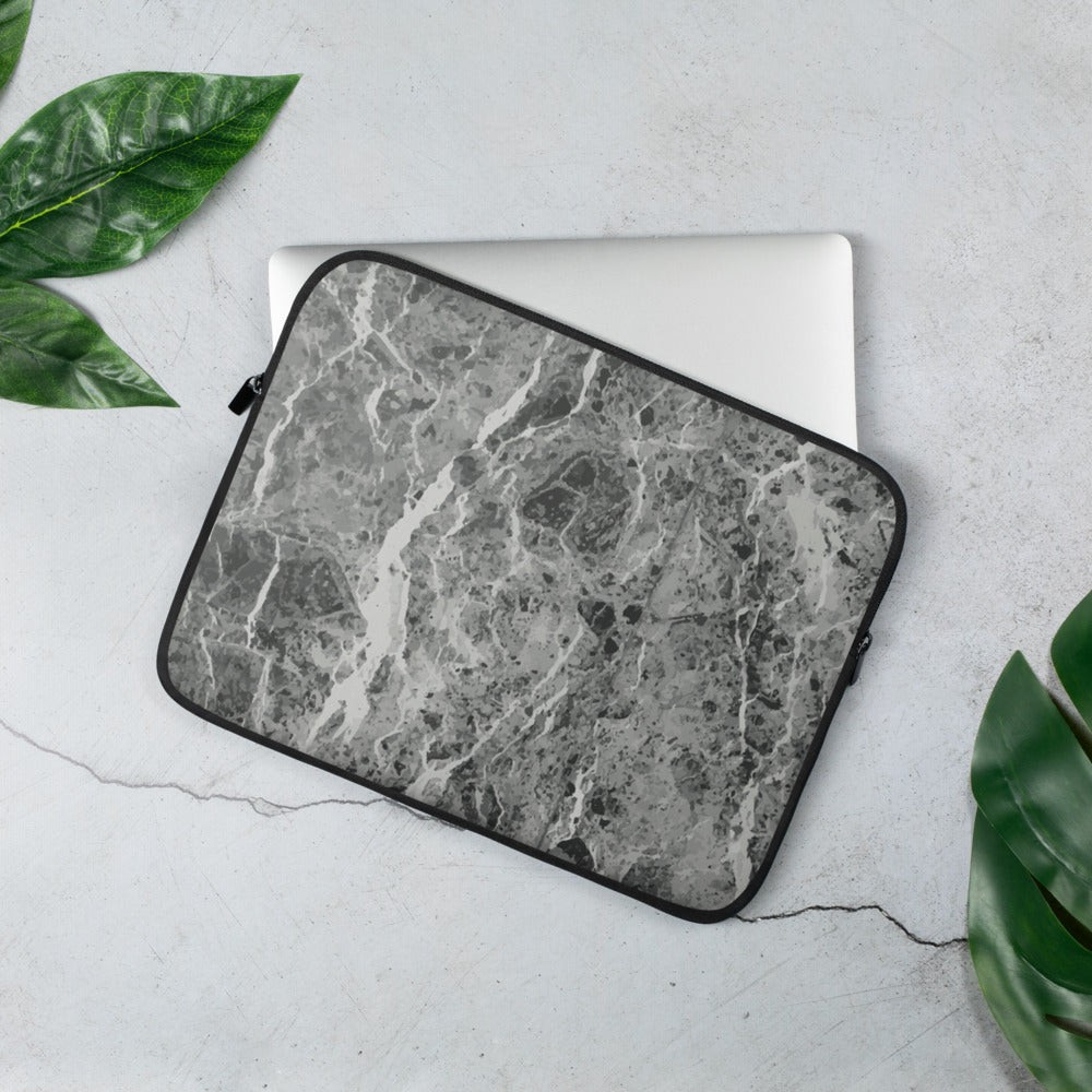 Personalized Laptop Sleeve in Dark Grey Marble with Faux Fur Lining