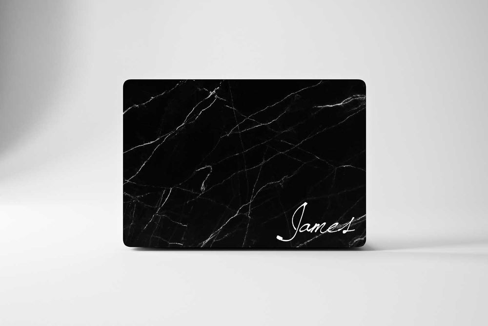Personalized Macbook Hard Shell Case - Black Marble