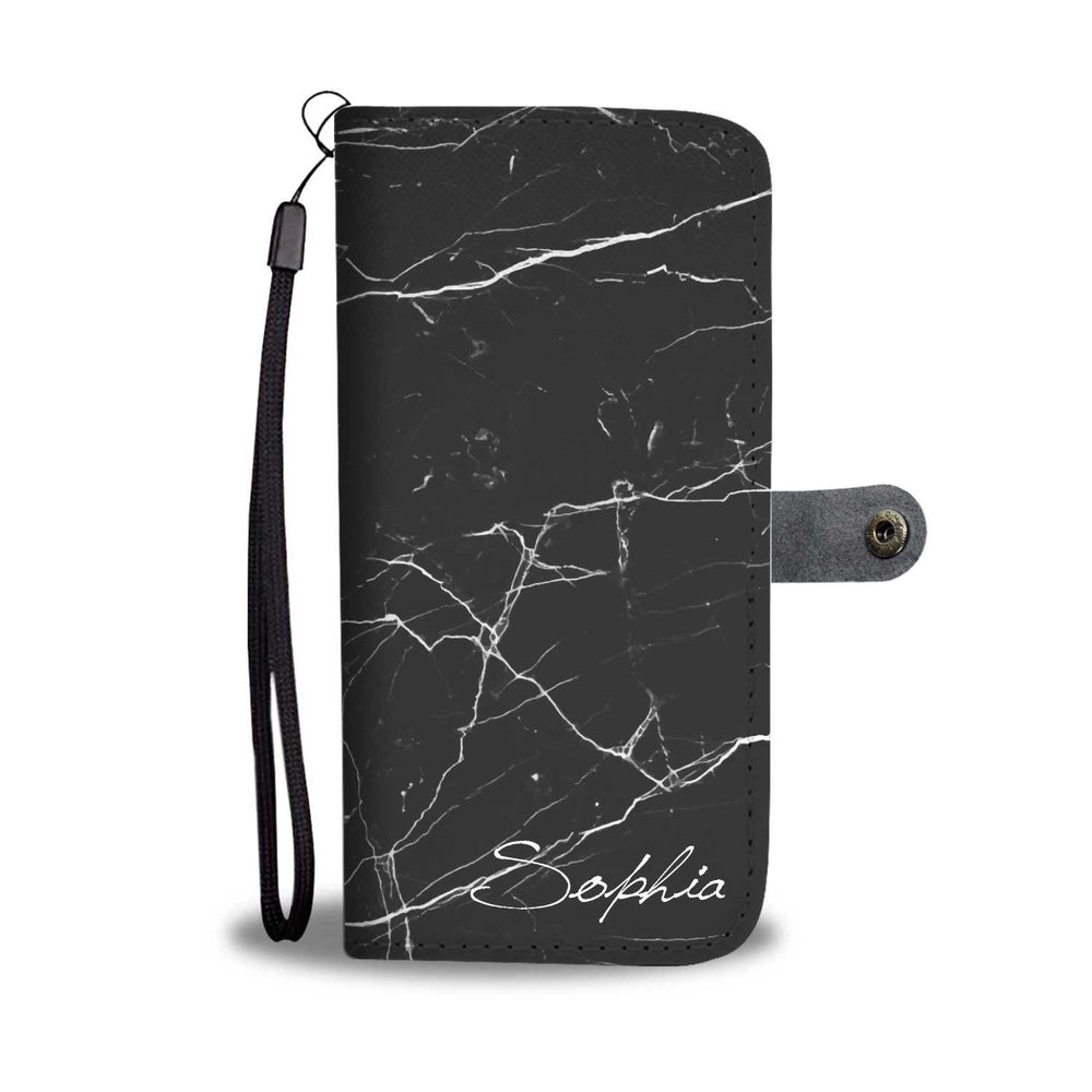 Personalized Black Marble Phone Wallet Case