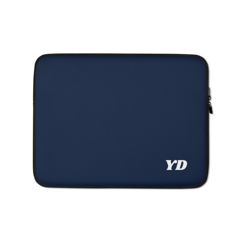 Personalized Laptop Sleeve - Navy with Faux Fur Lining