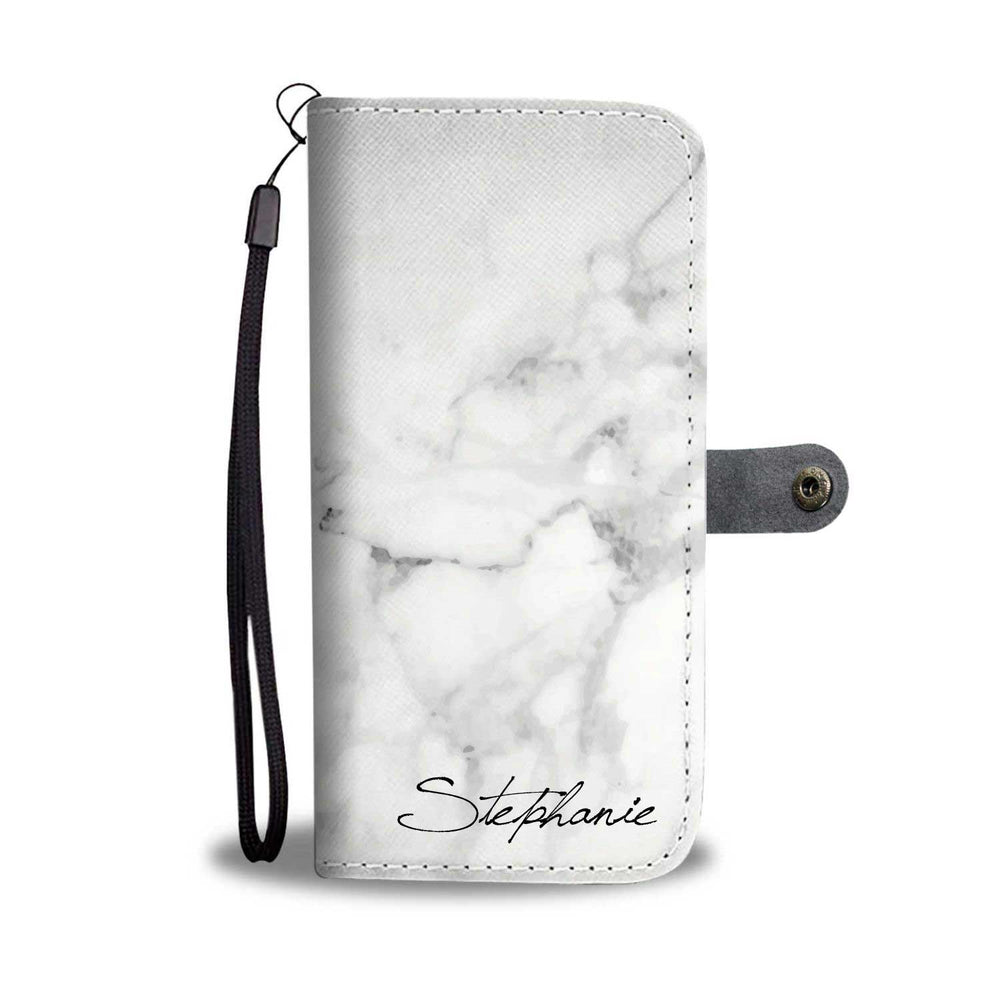 Personalized White Marble Phone Wallet Case