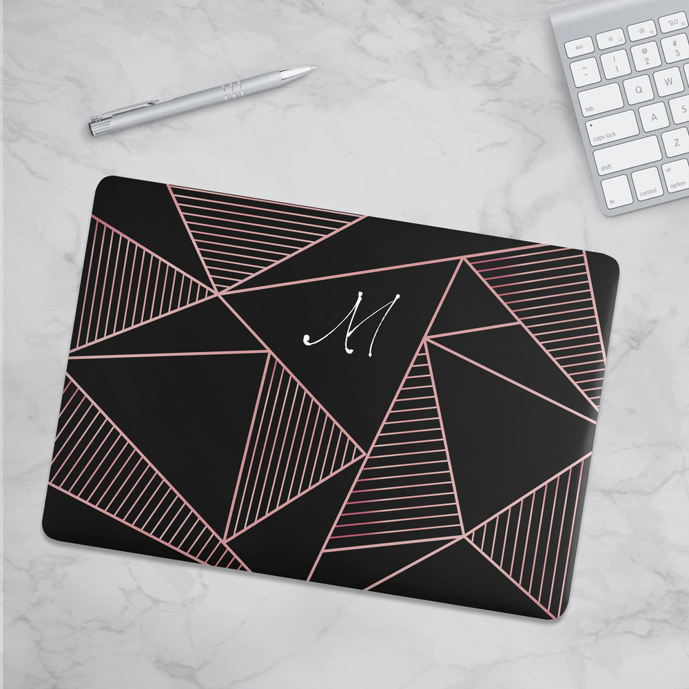 Personalized Macbook Hard Shell Case - Black & Pink Geometric