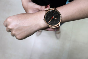 Helsinki Unisex Rose Gold Watch - Black Marble
