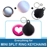 1 inch Button Parts, Everything For Mini Split Ring Keychains