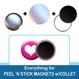 1 inch Button Parts, Everything For Peel n Stick Magnets with Collet