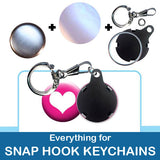 1 inch Button Parts, Everything For Snap Hook Keychains