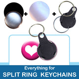 1 inch Button Parts, Everything For Split Ring Keychains