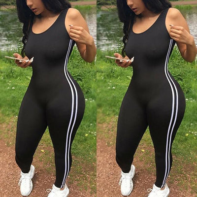 Jumpsuit Athletic Romper thebibishop Black XL