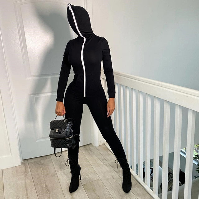 Solid Zipper Hoodie Jumpsuits Podinia
