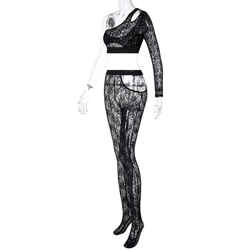 Shoulder Patchwork Lace Tshirt Leggings 2 Pieces