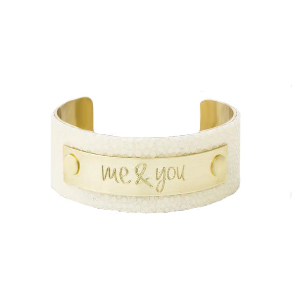 1.0 Polished Ivory Stingray with Gold Plate - Always and Forever Font
