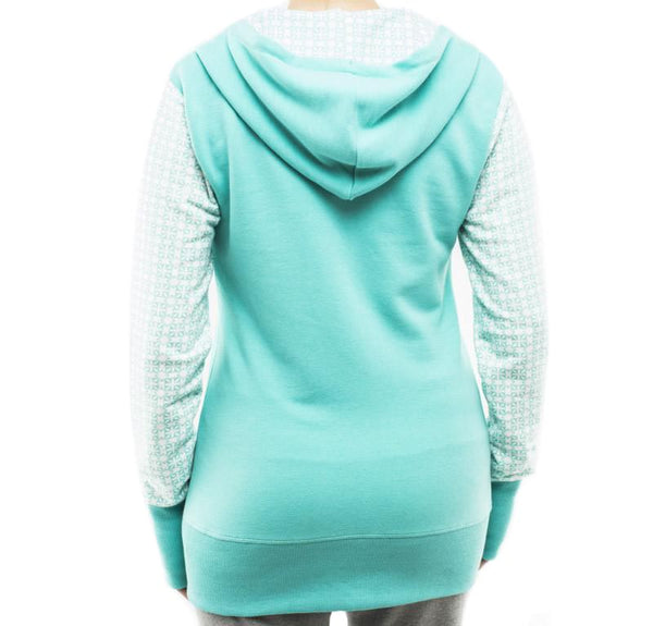RC Clothing Zip-Front Hoodie - Teal/White Print