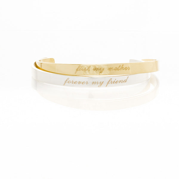 Engraved Quote .25 First My Mother Forever My Friend (Script) - Gold/Silver