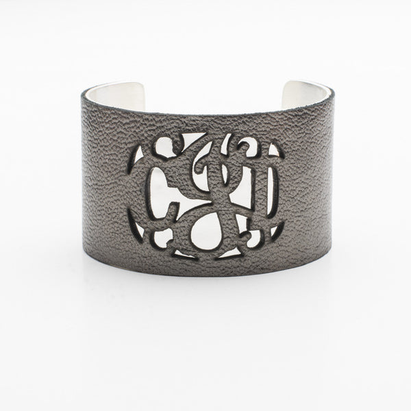 Leather Over Metal 1.5 Cut Out Monogram Gunmetal