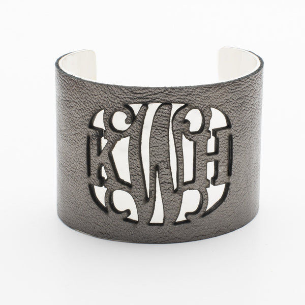 Leather Over Metal 2.0 Cut Out Monogram Gunmetal