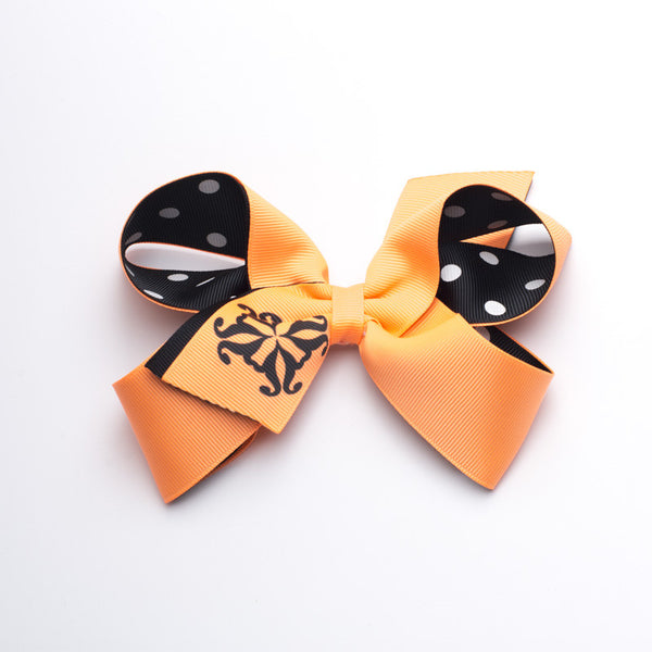 Single RC Logo and Polka Dots Hair Bow - Neon Orange