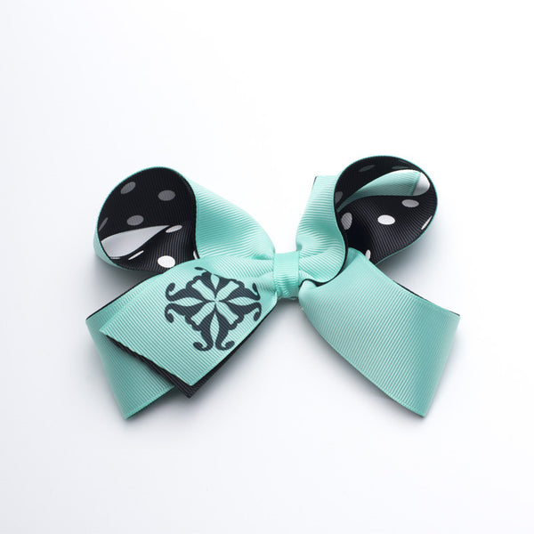 Single RC Logo and Polka Dots Hair Bow - Neon Turquoise