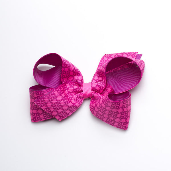 Multiple RC Logos Hair Bow - Neon Pink