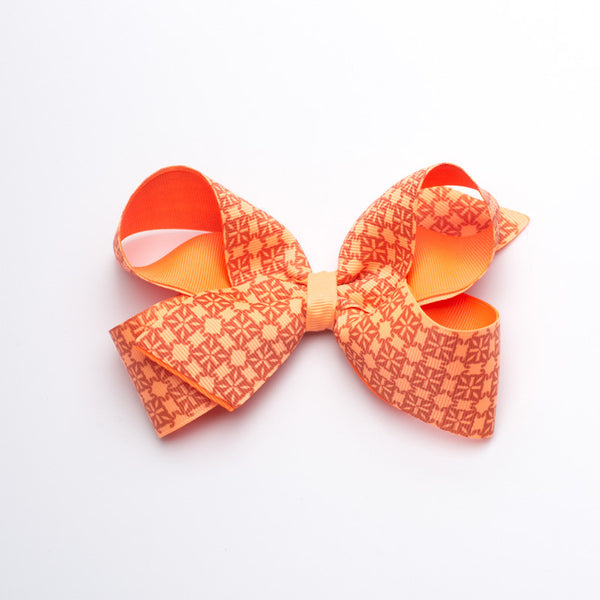 Multiple RC Logos Hair Bow - Neon Orange