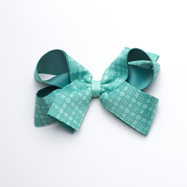 Multiple RC Logos Hair Bow - Neon Turquoise