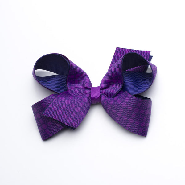 Multiple RC Logos Hair Bow - Neon Purple