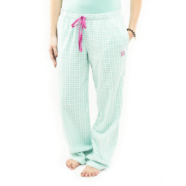 RC Clothing Flannel PJ Pant - White/Teal Multi Logo Print