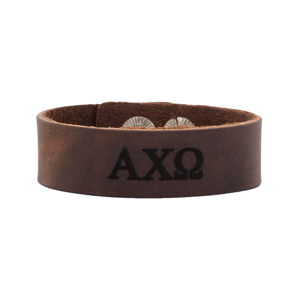 Leather Snap Cuff .75 - Alpha Chi Omega Greek Letters