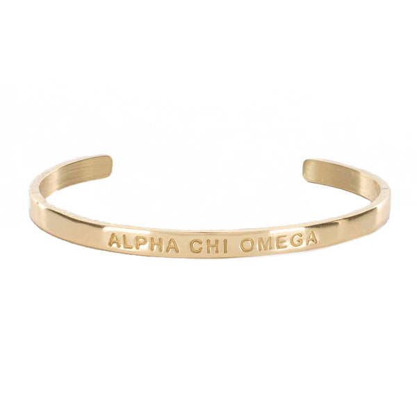 "Mini Quote Cuff ""ALPHA CHI OMEGA"""