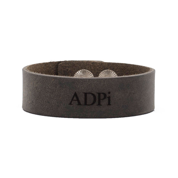 "Leather Snap Cuff .75 - Alpha Delta Pi ""ADPi"""