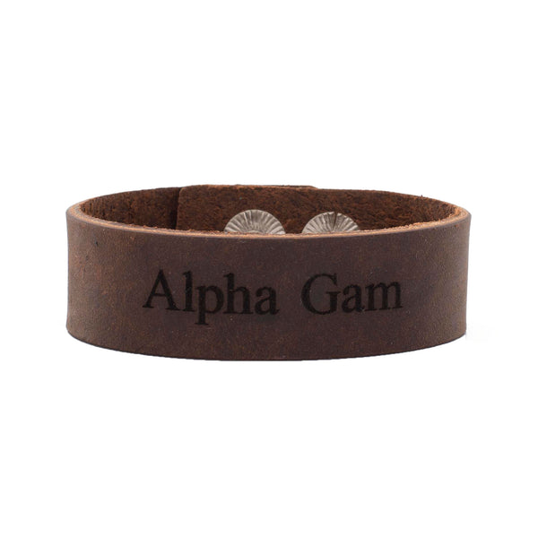 "Leather Snap Cuff .75 - Alpha Gamma Delta ""Alpha Gam"""