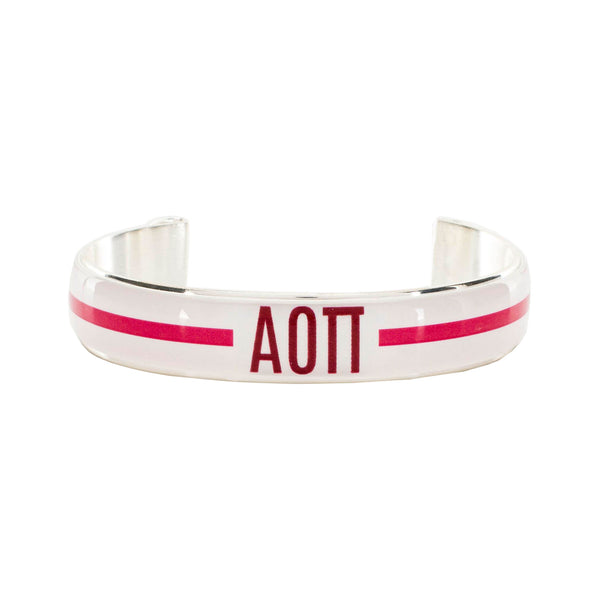 Art Deco .5 - Alpha Omicron Pi Greek Letters Varsity Stripe