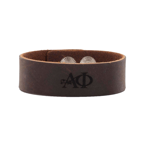 Leather Snap Cuff .75 - Alpha Phi Greek Letters
