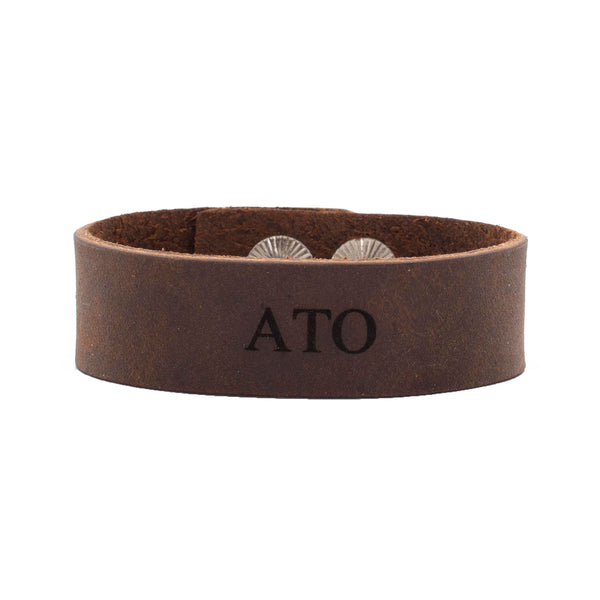 "Leather Snap Cuff .75 - Alpha Tau Omega ""ATO"""