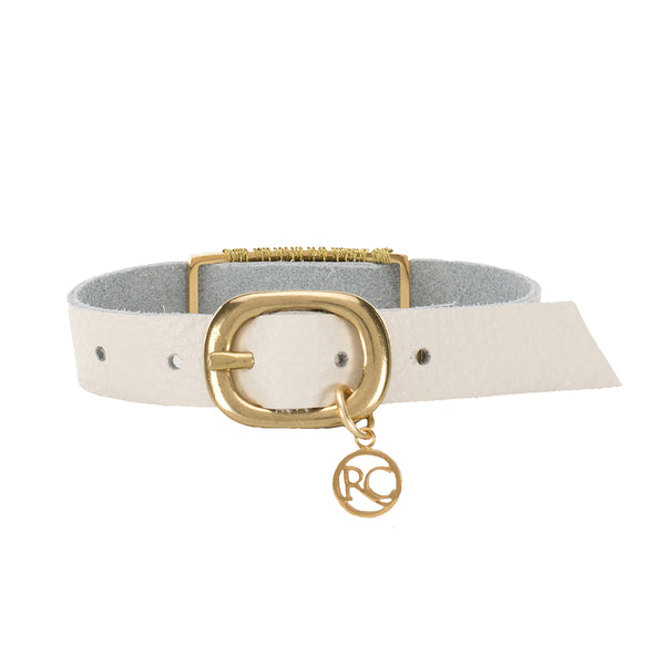 Marlow Single Wrap Camel and Black - White with Gold