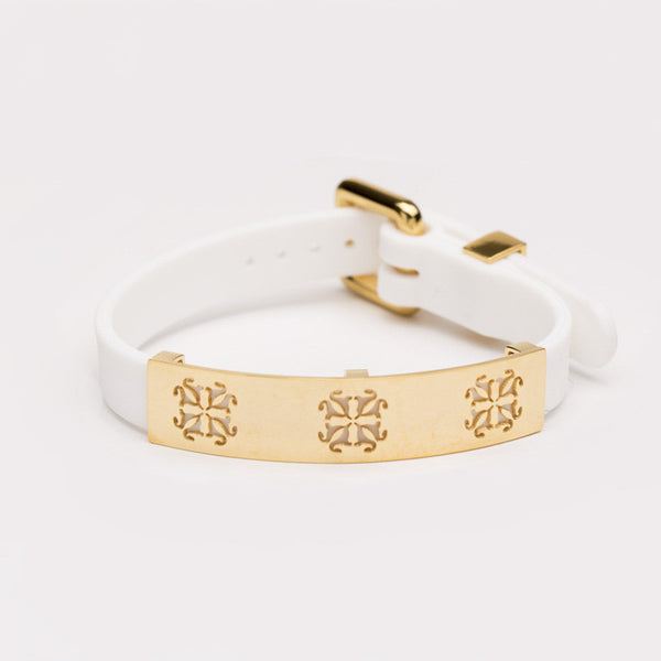 Amanda Buckle with Plate White with Gold
