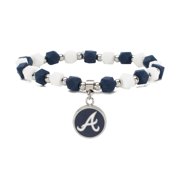 MLB Hexagon Beaded - Atlanta Braves on Silver