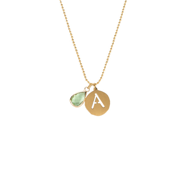Adele- August Initial Necklace - Gold