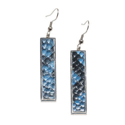 Vertical Rectangle Earrings Glazed Python - Autumn Tide on Silver