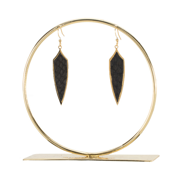 Python Pendulum Earrings - Black Matte on Gold