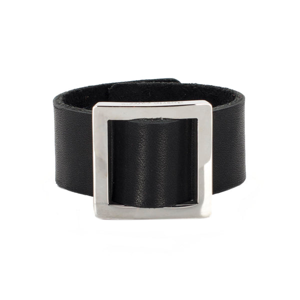 Square Buckle Leather Snap Cuff Black - Silver