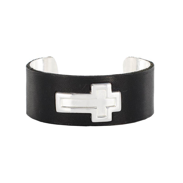"1"" Ethos Cross with Leather Overlay - Silver with Black"