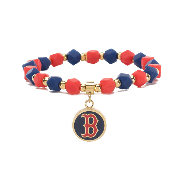 MLB Hexagon Beaded - Boston Red Sox on Gold